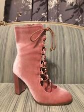 LOVE ATHENA High Heel Lace Up Velvet Boots 7 US, Dusty Rose Pink, Sheila NWOB