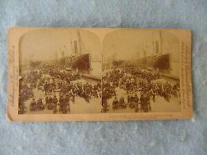 Spanish American War Stereoscope Card US Infantry Embarking for Cuba Span Am