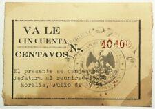 1915 Mexico Morelia Script 50 Centavos #11833