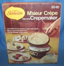 Sunbeam M'sieur Crepe Electric Crepe Maker NOS