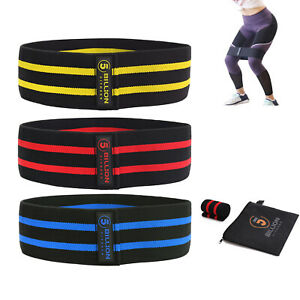 Set of 3 Fabric Fitness Resistance Bands, Anti Slip Loop Band for Booty Hip Butt