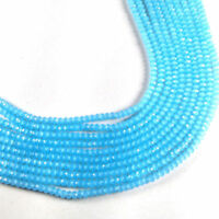 """Blue Chalcedony Hydro Gemstone Faceted Beads 4mm 13"""" Strand Making For Jewelry"""