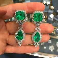 6Ct Pear Cut Emerald Simlnt Diamond Chandelier Earrings White Gold Fns Silver