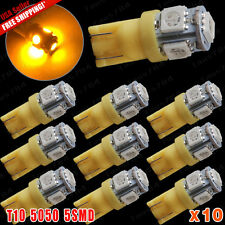 10x Amber Yellow T10 5-SMD 5050 Led Interior Map Dome License Plate Light Bulbs