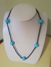 STUNNING SOLID 14K WHITE GOLD GENUINE TURQUOISE AND SPINEL NECKLACE