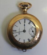 1902 Engraved Scene 14K GF Hampden/Molly Stark RR Pocket Watch 7J