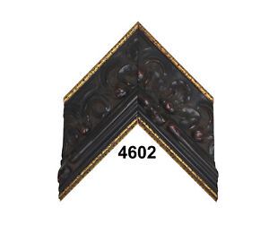 """Custom Picture Frame   4"""" Black Ornate with Gold Trim   Great for Large Canvases"""