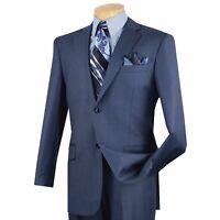 VINCI Men's Blue Textured Solid 2 Button Classic Fit Business Suit NEW