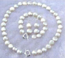 "Natural White 11-12MM Coin Pearl Necklace Bracelet Earring Jewelry Set 18"" 7.5"""