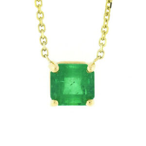 NEW 14K Gold 0.93ct Square Step Cut Colombian Emerald Solitaire Pendant Necklace