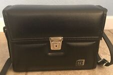 """Vintage Black Leather Camera/Equipment Bag Made in U.S.A 11""""Tall x 8""""Wide #706"""