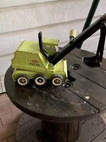 Green Tonka Back Hoe-6 Wheel-Vintage-Full Metal-Kids Toys-Rusty Gold