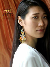 earrings Golden Candlestick Multicolored Blue Coral Ethnic Light BB 13