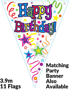 Colourful Stars Happy Birthday Party Holographic Foil Bunting 11 Flags 3.9m