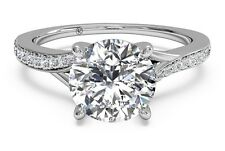 Real 14K Solid White gold 1.78 ct Round Brilliant Diamond Pave Engagement Ring