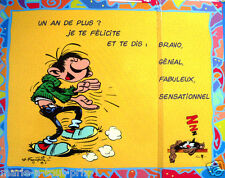 RARE Grande carte postale d'anniversaire de GASTON LAGAFFE + enveloppe ! humour+