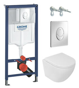 *Mega-WC-Set* Grohe Vorwandelement + Lavita Wand WC ohne Spülrand + Soft-Close