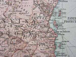1919 LARGE MAP AFRICA EAST CENTRAL ABYSSINIA BRITISH SOMALILAND UGANDA ZANZIBAR