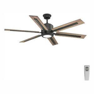 Glandon 60 in. LED Indoor Gilded Iron Ceiling Fan with Light Kit and Remote