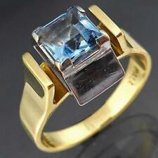 Vintage AQUAMARINE DIAMOND 18k Solid Yellow GOLD COCKTAIL RING Val=$2050 Sz N1/2