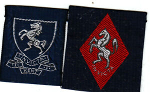 Girl Guide Badges KENT WEALD red + KENT WEST blue Counties