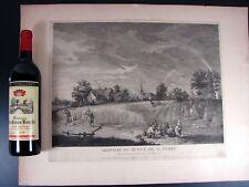 Gravure Taille Douce XVIII Vergé Filigranné MOISSON 1780 par LE BAS d'ap Teniers