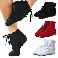Women Men UNISEX Modern CANVAS Jazz Ballet Dance Shoes Lace Up Boots Gymnastics