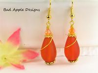 SEA GLASS Teardrop Orange Swirl GOLD Dangle Earrings USA HANDMADE