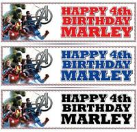 "2 PERSONALISED AVENGERS BIRTHDAY BANNER 3ft - 36 ""x 11"" - ANY NAME ANY AGE"