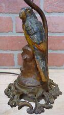 Antique Cast Iron PARROT on Stump Decorative Art Lamp htf unique old bird light