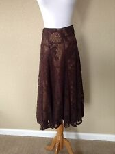 Pre-Owned Spirit by Coldwater Creek Brown Crochet Lace Skirt, Size 6