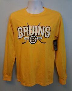 Boston Bruins NHL Mens Team Yellow Long Sleeve Shirts-Sizes:S-XL