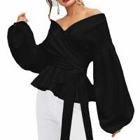 Women Long Sleeve V-neck Loose Tops Tee T Shirt Formal Shirt Casual Blouse