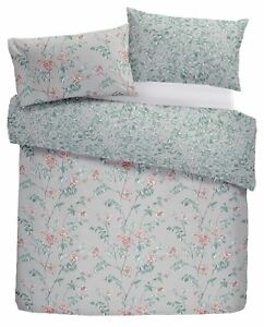 HAND-DRAWN STYLE FLOWERS LEAVES RED DOUBLE DUVET COVER & ANNEAU TOP CURTAINS