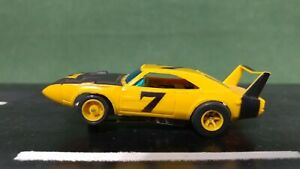 Yellow AFX #7 Dodge Charger Daytona 1:64 Scale Slot Car w/Mag Chassis