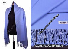 Cornflower Blue Classic 100% Real Pashmina Cashmere Wool Shawl Wrap Scarf Solid