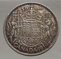 1940 CANADA King George VI of Britain Silver 50 Cent Coin Coat of Arms i56629