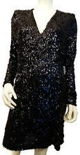 Venus Women's Large Black Sequin Dress Faux Wrap Long Sleeve Zip Back