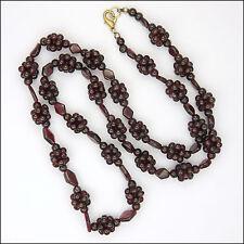 Garnet Gemstone Bead Necklace - 26 inches