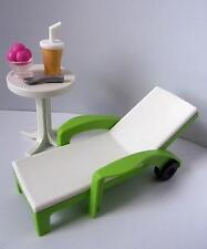 Playmobil Dollshouse/Vacaciones/muebles de jardín Tumbona, Mesa y helado NUEVO
