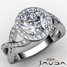 Split Curve Shank Round Diamond  Engagement Ring GIA F-VVS2 14k White Gold 1.7ct