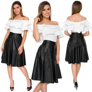 Womens Faux Leather Formal Black Skirt Knee Length High Waist A-Line Pocket FS02