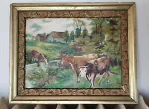 1909 SIGNED OIL ON CANVAS PAINTING OF COWS IN FARMLAND LANDSCAPE