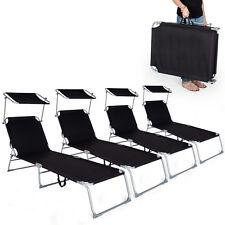 4 x Tumbona plegable para ocio y jardín playa ocio hamaca con toldo negro