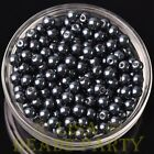New 50pcs 6mm Round Glass Pearl Loose Spacer Beads Jewelry Making Pearl Black