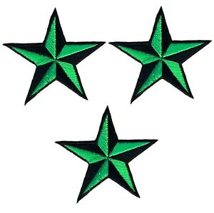 "Nautical Star Applique Patch - Neon Green/Black Tattoo Badge 2""(3-Pack, Iron on)"