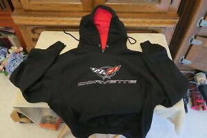 Black Embroidered Corvette Hoodie Sweatshirt by Steve & Barry's, Size Small S