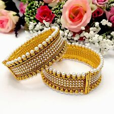 Indian Polki Bangles Size:2.8 Bollywood Asian Pakistani Bridal Wedding Jewellery