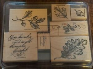 Country Blessings Stampin Up! Used leaf leaves acorn give thanks blessings