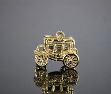 Vintage Estate 14k Yellow Gold Wagon Car Handmade 3D Charm Pendant Collectible